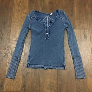 Free People blue thermal long sleeve top